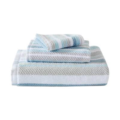 Ocean Bay Stripe 3-Piece Medium Blue Cotton Towel Set