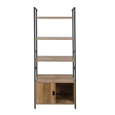 73 in. H Light Oak 5-Shelf Cabinet Standard Bookcase