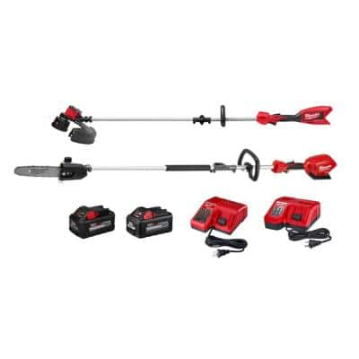 M18 18-Volt Lithium-Ion Brushless Cordless String Trimmer, M18 FUEL Pole Saw Kit, (2) Chargers, 6Ah and 8.0 Ah Batteries