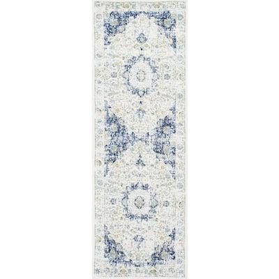 Verona Vintage Persian Blue 3 ft. x 14 ft. Runner Rug