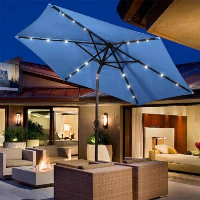9 ft. Steel Cantilever Solar Tilt Patio Umbrella LED Lights with Crank Blue
