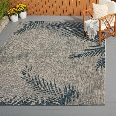 Captiva Grey / Blue 7 ft. 9 in. x 9 ft. 5 in. Rectangle Indoor/Outdoor Area Rug