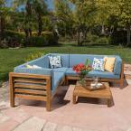 Oana Teak Finish 4-Piece Wood Outdoor Sectional Set with Blue Cushions