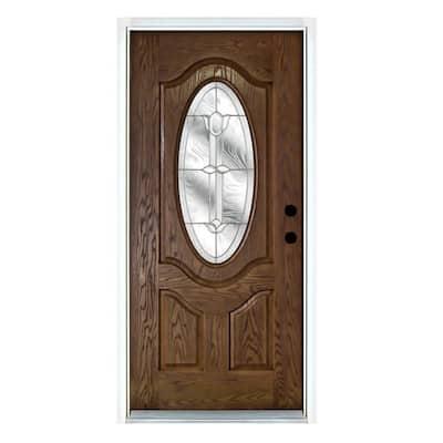 36 in. x 80 in. Flores Medium Oak Left-Hand Inswing 3/4 Oval Lite Decorative Fiberglass Prehung Front Door