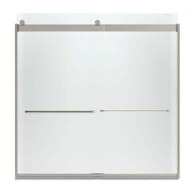 Levity 59 in. x 62 in. Semi-Frameless Sliding Tub Door in Nickel with Handle and Frosted Glass