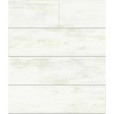 Shiplap White Paper Pre-Pasted Strippable Wallpaper Roll (Covers 56 Sq. Ft.)