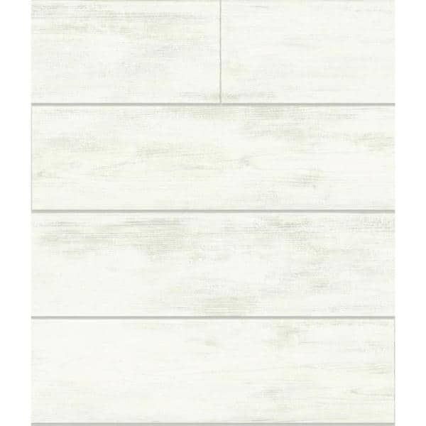 Magnolia Home by Joanna Gaines - Shiplap White Paper Pre-Pasted Strippable Wallpaper Roll (Covers 56 Sq. Ft.)