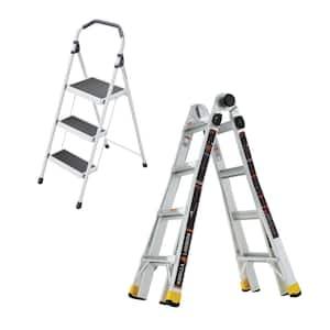 18 ft. Reach MPXA Multi-Position Ladder/3-Step Lightweight Steel Step Stool (Combo-Pack)