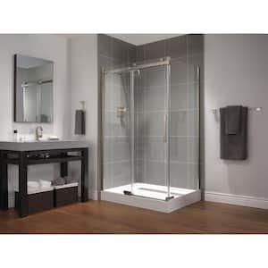 36 in. x 48 in. x 72 in. Frameless Sliding Shower Enclosure in Stainless with 48 in. x 36 in. Base Corner in White