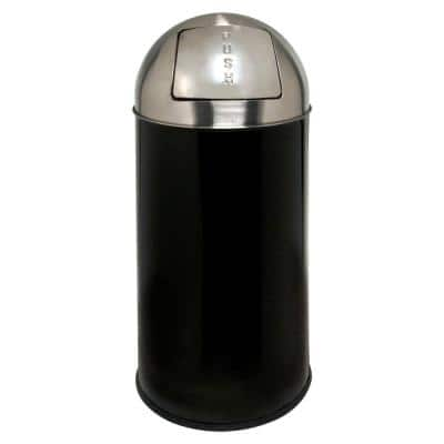 12 Gal. Black/Chrome Round Top Trash Can