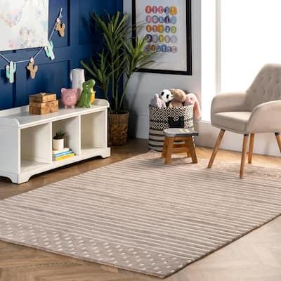 Marlowe Stripes Beige 9 ft. x 12 ft. Indoor Area Rug