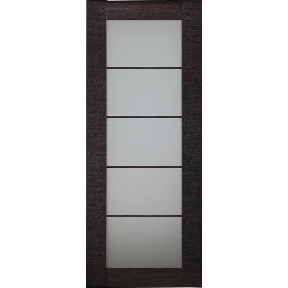 Belldinni 36 In X 80 In Avanti Black Apricot Finished Solid Core Wood 5 Lite Frosted Glass Interior Door Slab No Bore 090999 The Home Depot