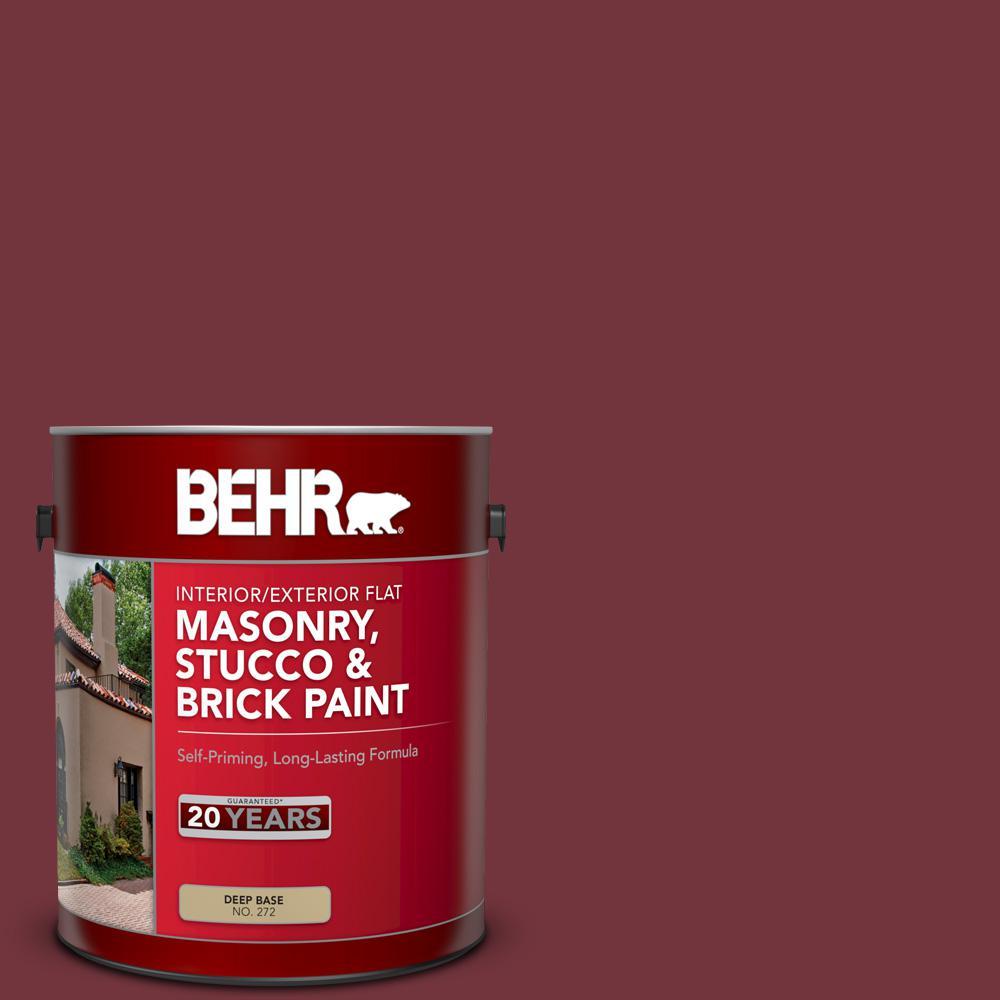 1 gal. #S130-7 Cherry Cola Flat Interior/Exterior Masonry, Stucco and Brick Paint