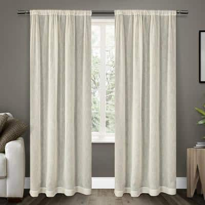 Belgian Snowflake Off-White Textured Jacquard 50 in. W x 108 in. L Rod Pocket, Sheer Curtain Panel (Set of 2)