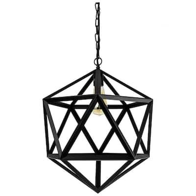 1-Light Satin Black E26 Base Ceiling Mount Geometric Hexagon Cage Pendant with Cord