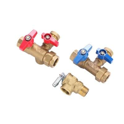 3/4 in. Universal Brass Tankless Water Heater Isolation Valve Service Kit with Pressure Relief Valve