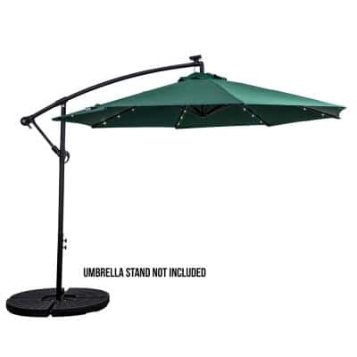 10 ft. Cantilever Round Solar Powered Patio Umbrella in Hunter Green