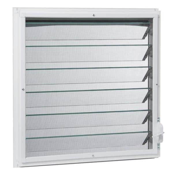 Tafco Windows 23 In X 47 875 In Jalousie Utility Louver Awning Aluminum Screen Window In White Jalw2448 The Home Depot