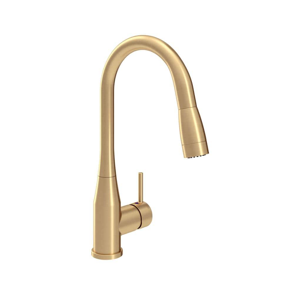 symmons sereno single handle pull down sprayer kitchen faucet in brushed gold s 2302 bbz pd 1 5 the home depot