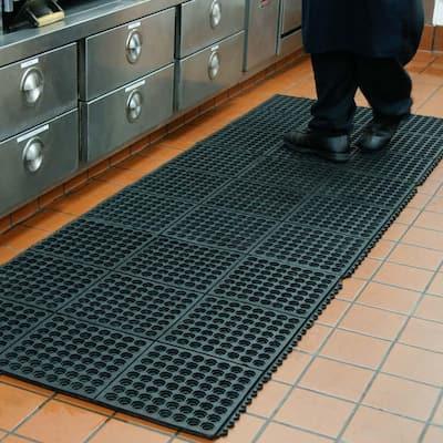 Dura-Chef Interlock 5/8 in. x 36 in. x 36 in. Black Kitchen Mat (2-Pack)