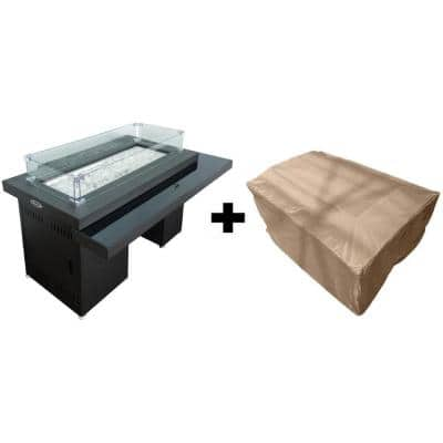 37.5 in. W x 26 in. H Rectangle 2-Tiered Metal and Glass Propane Fire Pit in Dark Mocha with Cover