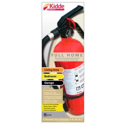 Full Home Fire Extinguisher with Hose, Easy Mount Bracket & Strap, 3-A:40-B:C, Dry Chemical, One-Time Use
