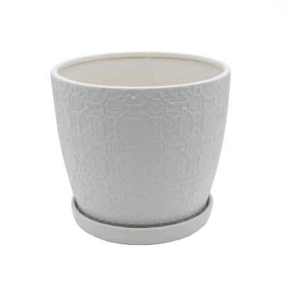 10 in. Matte White Catheral Ceramic Pot with Saucer