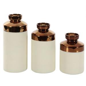 White Ceramic Contemporary Decorative Vase (Set of 3)