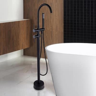 2-Handle Free Standing Floor Mount Bathroom Tub Faucets with Handheld Shower in Matte Black