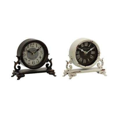 7 in. x 7 in. Iron Black and Vintage White Round Table Clocks on Rectangular Scrollwork-Designed Base (Set of 2)