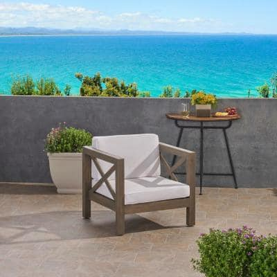Brava Grey Removable Cushions Wood Outdoor Lounge Chair with White Cushions
