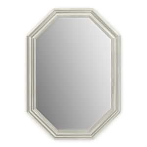33 in. W x 46 in. H (L3) Framed Octagon Deluxe Glass Bathroom Vanity Mirror in Vintage Nickel