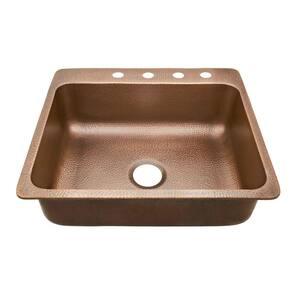 Rosa Drop-In Copper Sink 25 in. 4-Hole Single Bowl Copper Kitchen Sink in Antique Copper