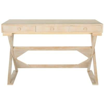 47 in. Rectangular Natural 3 Drawer Writing Desk with Built-In Storage