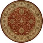 Empire Rust/Ivory 4 ft. x 4 ft. Round Area Rug