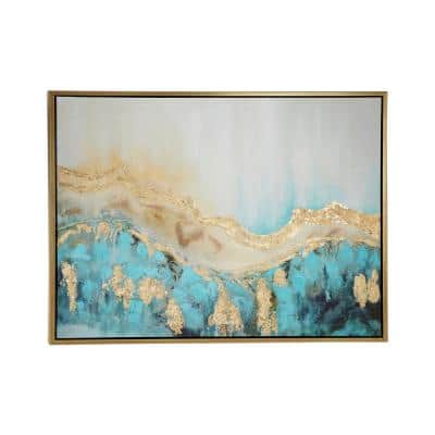 Turquoise and Gold Abstract Framed Wall Art