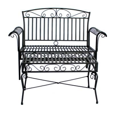 French Quarter Black Steel Outdoor Loveseat and Coffee Table