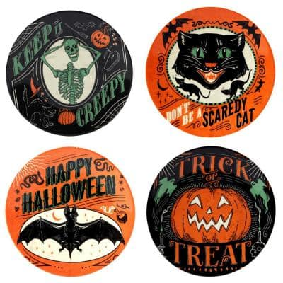 Scaredy Cat Multicolored Earthenware Canape Plate Round 6 in. Assorted (Set of 4)