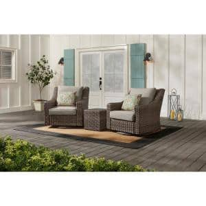 Rock Cliff 3-Piece Brown Wicker Outdoor Patio Seating Set with CushionGuard Riverbed Tan Cushions