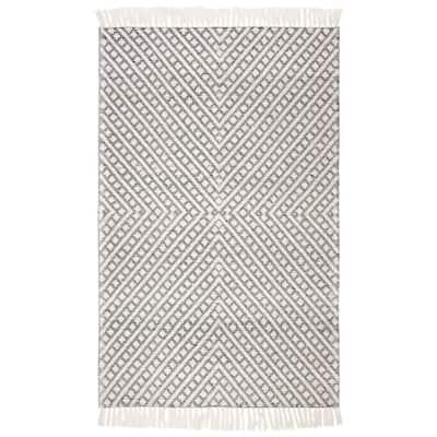 Natura Ivory/Black 6 ft. x 9 ft. Striped Diamonds Area Rug