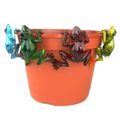 4-Piece Multi-Colored Frog Pot Sitter Hanger