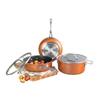 StackMaster 5-Piece Aluminum Ultra-Nonstick Cast Textured Ceramic Coating Cookware Set
