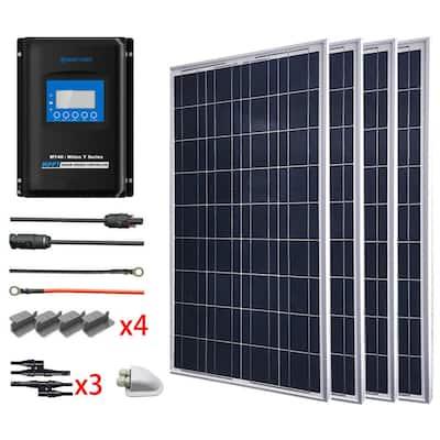 400-Watt Polycrystalline OffGrid Solar Power Kit with 4 x 100-Watt Solar Panel, 40 Amp MPPT Charge Controller