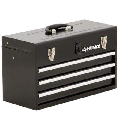 20 in. 3-Drawer Small Metal Portable Tool Box with Drawers and Tray