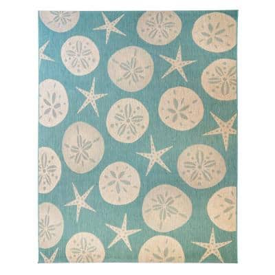 Paseo Starfish Oasis/Sand 9 ft. x 13 ft. Indoor/Outdoor Area Rug