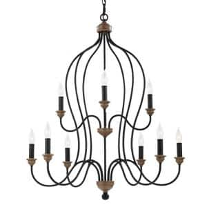 Hartsville 9-Light Dark Weathered Zinc/Weathered Oak Farmhouse Rustic Multi-Tier Hanging Candlestick Chandelier