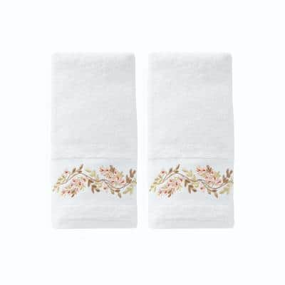 Misty White Floral Cotton Single Hand Towel
