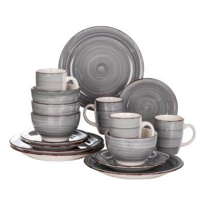 Series Bella 16-Pieces Dinnerware Set Porcelain Dinner Set Crockery in Vintage Look Gray (Service for 4)