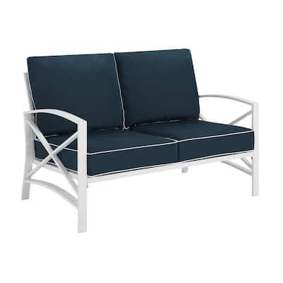 Kaplan White Metal Outdoor Loveseat with Navy Cushions