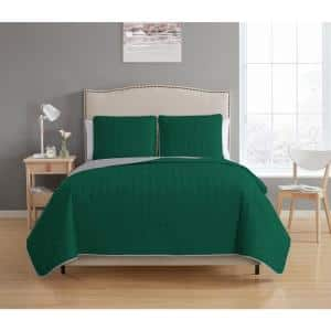 Bethany Reversible 3-piece Hunter Green/Grey King Quilt Set